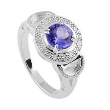 Tanzanite Natural Gemstone with White Topaz Women's Ring 925 Sterling Silver US7