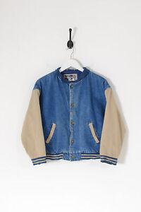 Vintage Cropped Varsity Baseball Jacket Mid Blue (M)