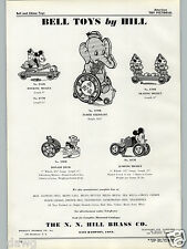 1937 PAPER AD N. N. Hill Brass Co Bell Pull Toys Donald Duck Mickey Mouse Elmer
