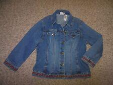 Axcess Woman Medium 12 Blue Stretch Denim Button Front Embroidered Jean Jacket