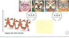 WBC. - GB-Primo giorno di Copertura-FDC-commems -2001 - faccia dipinti-PMK. PB