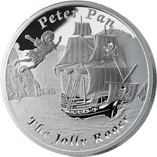 COA #8 of 3000   2014 $1 Tuvalu -PETER PAN JOLLY ROGER 1oz 999 Proof Silver Coin