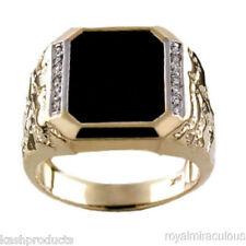 Mens Ring Diamond Onyx 14K Yellow Gold