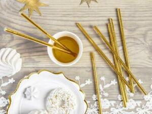 Gold Paper Straws - Gold Foil Christmas Straws - Birthday Party Straws x 10
