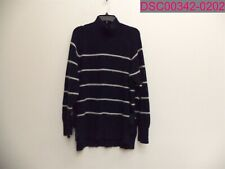 Rebecca Taylor Striped Turtleneck Pullover Sweater Navy/Cloud Women's Large