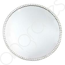 Large Crystal Gem Mirror Round Candle Plate Glass Home Centrepiece Dish (33cm)