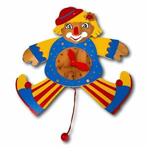 Vintage Clown Wood Tell Time Clock Moving Arms Legs 20 inch Home School