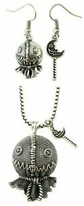 Classic Horror Trick R' Treat Burlap Sam Metal Pendant Necklace and Earrings Set
