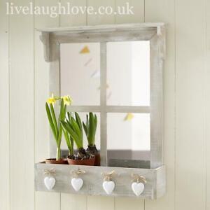 Mirrored Window Wall Shelf With 4 Hearts