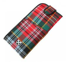 Gents Red Green Blue Caledonia Modern Tartan Glasses Specs Case Pouch