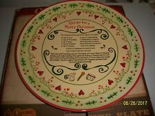 """Decorative Ceramic Wall Plate """"Recipe for a Merry Christmas""""  by Cracker Barrel"""
