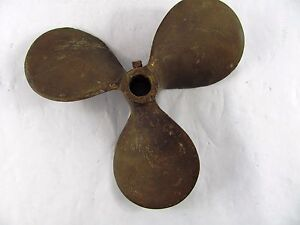 "Vintage 3 Blade Brass Boat Propeller 12 x 12 RH  1"" shaft"