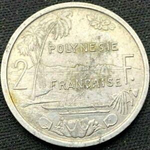 1979 French Polynesia 2 Francs Coin VF     World Coin Aluminum      #K346