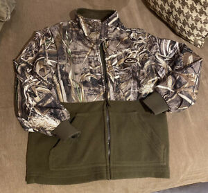 Drake Waterfowl Systems Youth Full Zip Fleece Jacket Sz 10 Removal Sleeves Camo