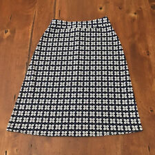 Downeast XS Navy Blue Geometric Floral Print Skirt Stretch Cotton Zips Back