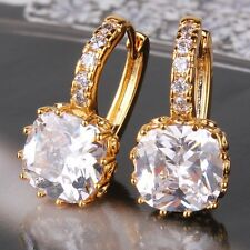 Newest style 24k yellow gold filled white sapphire shining leverback earring