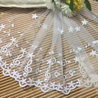 1 Yard White Flower Note Embroidered Tulle Mesh Lace Trim for Sewing Fabric DIY