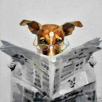 Dog reading newspaper canvas oil painting hand-painted modern abstract a03