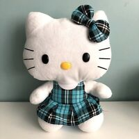 "Ty Sanrio Hello Kitty Plush Soft Toy Blue Green Tartan Dress & Bow 10"" Tall"