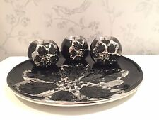 Black and Silver Floral Ceramic Plate with 3 Ball Candle Holders DF17314B