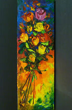 Floral Rose Still Life Abstract Willson Lau Original Oil Painting Fine Art Wow!
