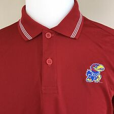 adidas Men's Red White KU Jayhawk Polyester Short Sleeve Polo Golf Shirt S Small