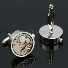 MEN'S CLOCKWORK WATCH MOVEMENT STEAMPUNK SILVER CUFFLINKS CUFF LINKS GIFT
