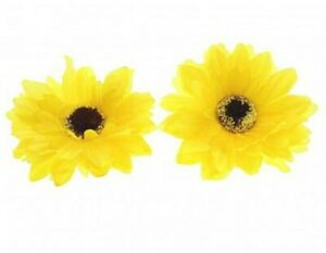 2 Pack 8.5cm Yellow Sunflower Large Bow Hair Alligator Clips Girls Accessories
