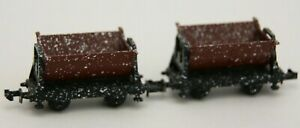 2 Unknown N Gauge Mine, Quarry Side Tipping Wagons, Weathered, Hudson, Unboxed