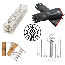 GRILL SERGEANT COMBO - MEAT CLAWS, SMOKER TUBE, FLAVOR INJECTOR, GRILL GLOVES
