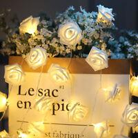 20 LED Rose Flower Garland String Light Fairy Wedding Party Christmas Decoration