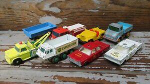 Vintage Lesney Matchbox Lot of 8 Vehicles! BP Jeep Police Fire Mercedes Farm