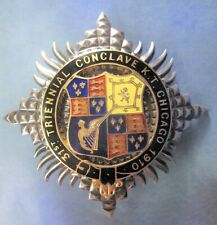 More details for a silver masonic knight's templar triennial conclave jewel from 1910 -d