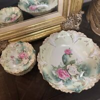 Antique RS Prussia GOLD & Floral Bowl ~ with 5 Matching Bowls - GORGEOUS Mold