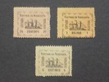 (3) mhh 1903 Venezuelan Guayana State stamps off paper steamship reprints