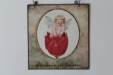 Retro Vintage Shabby Chic Fairies Metal Sign Plaque Hanging Picture