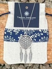 Boho Bohemian Flower of Life Dreamcatcher Feather Necklace with gift pouch
