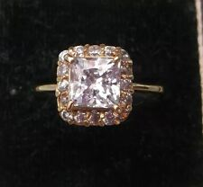 Women's 14ct Gold CZ Stone Ring Hallmarked Weight 3.3g Size N Quality Setting