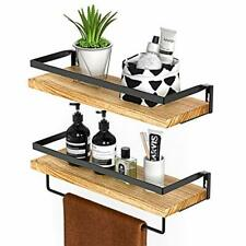 Rustic Floating Shelves Wall Mounted Solid Paulownia Wood Set of 2 for Kitchen