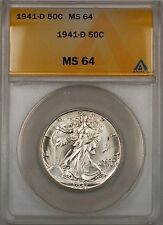 1941-D Walking Liberty Silver Half Dollar 50c ANACS MS 64