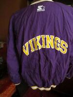 LARGE Vtg 90's Starter Pro Line Mens Minnesota Vikings Pullover Jacket PURPLE