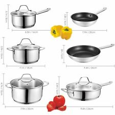Kitchen Cookware Set 12-Piece Pots Pans Cooking Home Stainless Steel Nonstick US