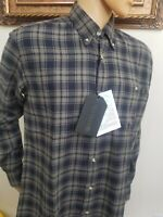 NWT  Beretta shirt light Flannel Plaid Long Sleeve button down 100% cotton M