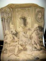 ANTIQUE FRENCH PASTEL TAPESTRY PARLOR MUSIC SCENE FARMHOUSE EARLY 1900's