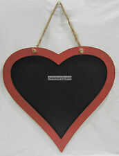 Large Wooden Love Heart Blackboard Chalkboard With Red Surround & Twine Hanger