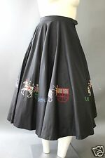 Spectacular VTG 50s ISLE OF CAPRI Cross Stitched Full Sweep CIRCLE SKIRT XS S