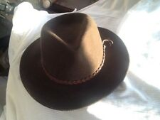 Country Gentleman Black Wool Lite Felt Outback Cowboy Hat Braided Leather Band L
