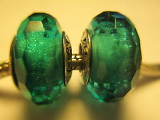 Set 2 Authentic Pandora Silver 925 Ale Teal Shimmer Murano Bead Charm 791655 N