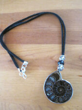 Ammonite Fossil  Stone Pendant with silver Deerskin Leather beaded Necklace