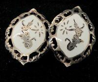 Vintage Sterling Silver Earrings 925 White Enamel Siam Screw Back